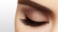 Picture : Beautiful female eye with extreme long eyelashes, black liner makeup. Perfect make-up, long lashes. Closeup fashion eyes   badian