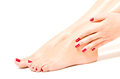Beautiful female feet and hands Royalty Free Stock Photo