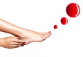 Beautiful female feet with red pedicure and nail polish drops of over white background Royalty Free Stock Photography