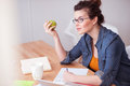 Beautiful female freelancer has a lot of work Royalty Free Stock Photo