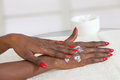 Beautiful Female Hands.Manicure concept-black beauty Royalty Free Stock Photo