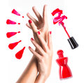 Beautiful female hands with red manicure and nail polish bottle brush Royalty Free Stock Photos