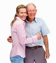 A beautiful female with her father against white Stock Image