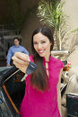 Beautiful Female Holding Car Key Royalty Free Stock Photos