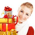Beautiful female holding gifts Royalty Free Stock Images