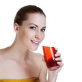 Beautiful female holding glass of fresh juice Royalty Free Stock Photos