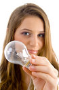 Beautiful female holding light bulb Royalty Free Stock Photo