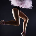 Beautiful female legs.ballet dancer girl.Ballerina pointe shoes Royalty Free Stock Photo