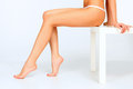 Beautiful female legs white background Royalty Free Stock Images