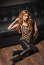 Beautiful female model at fashion with high heels sitting on the floor wearing leopard leather clothes. Royalty Free Stock Photo
