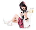 Beautiful female rocker with guitar isolated on white background Royalty Free Stock Photos