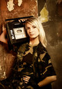 Beautiful female soldier Stock Photos
