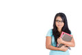 Beautiful female student with books and eyeglasses closeup portrait of woman holding isolated on white background copy space Stock Image