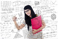 Beautiful female student write on transparent white board young is writing Stock Images