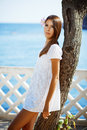 Beautiful female in summer vacation Royalty Free Stock Image