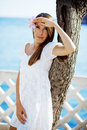 Beautiful female in summer vacation Royalty Free Stock Images