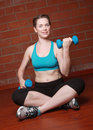 Beautiful Female Working Out With Weights Royalty Free Stock Image