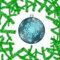 Beautiful festive Christmas postcard with a New Year`s round blue ball, a Christmas tree decoration with patterns of snowflakes