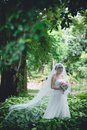 Beautiful fiancee in summer forest Royalty Free Stock Images