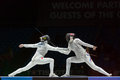 Beautiful fight on championship of world in fencing Royalty Free Stock Photo