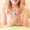 Beautiful fingernail manicure acrylic nail polish of woman Royalty Free Stock Photo