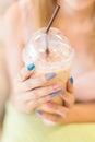 Beautiful fingernail manicure acrylic nail polish, woman hand Royalty Free Stock Photo