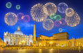 Beautiful fireworks above Saint Peter's Square, Vatican, Rome Royalty Free Stock Photo