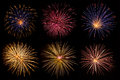 Beautiful fireworks collection Royalty Free Stock Photo