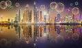 Beautiful fireworks in Dubai marina. UAE Royalty Free Stock Photo