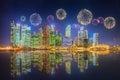 Beautiful fireworks in Marina Bay, Singapore Skyline Royalty Free Stock Photo