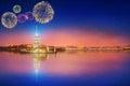 Beautiful fireworks near Maiden Tower or Kiz Kulesi Istanbul Royalty Free Stock Photo