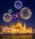 Beautiful fireworks under hungarian Parliament Royalty Free Stock Photo