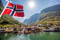 Beautiful Fishing village Undredal against mountain near the Flam in Norway Royalty Free Stock Photo