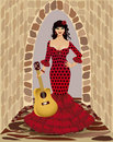 Beautiful flamenco girl with guitar vector Stock Images
