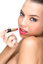 Beautiful flawless skinned woman with lipstick Stock Photos