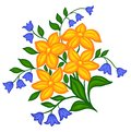 Beautiful floral arrangement hand drawing on a white background many similarities to the author s profile Stock Photos