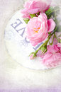 Beautiful floral card with love for you gentle wild pink roses with gift box Stock Image