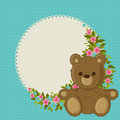 Beautiful floral card with teddy bear blue blank Stock Image