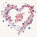 Beautiful floral heart with lettering. Valentine card
