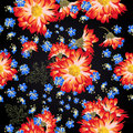 Beautiful floral pattern with bright chamomilies and blue flower