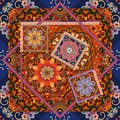 Beautiful floral pattern in patchwork style. Indian, arabic, aztec, moroccan, mexican motives Royalty Free Stock Photo