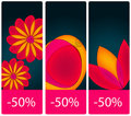 Beautiful floral price tag set Royalty Free Stock Photo