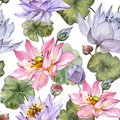 Beautiful floral seamless pattern. Large pink and purple lotus flowers with leaves on white background. Hand drawn illustration.