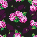 Beautiful floral seamless pattern vintage purple rose on a dark background Stock Photo
