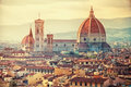 Beautiful florence view of santa maria del fiore in sunset italy Royalty Free Stock Photo