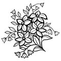 Beautiful flower arrangement black outline white background Stock Photo