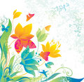 Beautiful flower background with butterfly and col Royalty Free Stock Images