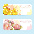Beautiful flower sticker postcards polka dot background Stock Photos