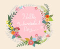 Beautiful flowers bouquet and round frame vector illustration