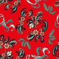 Beautiful flowers on a red background seamless pattern Royalty Free Stock Photo